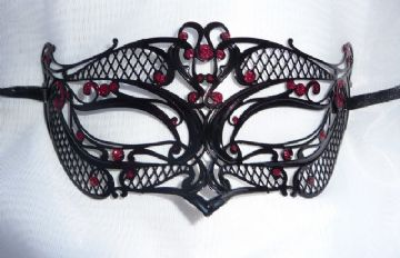 Genuine Venetian Black & Red Glitter Metal Mini filigree Petite Eye Mask